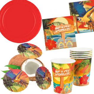 Sommer Party Deko Set Hawaii Beach Teller Becher Servietten Cocktail-Schirmchen