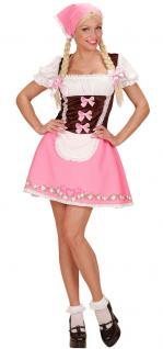 Oktoberfest Dirndl Kostüm rosa-braun Trachtenkleid Damen Dirndl Tirol Bayern KK
