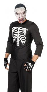 Skelett Kostüm Herren Hemd mit Aufdruck Horror-Kostüm Halloween Fasching KK