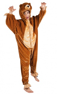 Bär Kostüm Kinder Plüsch braun Bären-Kostüm Teddy Tier Kinderkostüm Karneval KK