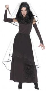 Gothic Braut Kostüm Damen Horror Brautkleid schwarz Schleier Halloween-Kostüm KK