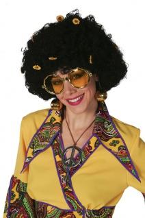Hippie Perücke Damen Lockenperücke schwarz mit Blumen 60er Jahre Damenperücke KK
