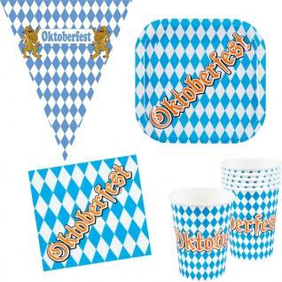 Oktober-Fest Deko Party Set Bayern Teller Becher Servietten Wimpelkette 25 Teile