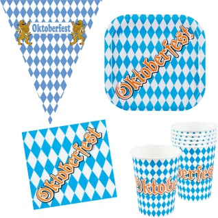 Oktoberfest Deko Party Set Bayern 25 Teile Teller Becher Servietten Wimpelkette