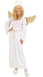 Kostüm Engel Damen Kleid weiß gold Engelskostüm Damenkostüm inkl. Stab KK