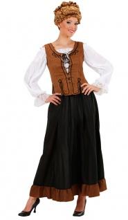 Magd Kostüm Damen Marktfrau Bäuerin Mittelalter Rock Bluse Korsett Karneval KK
