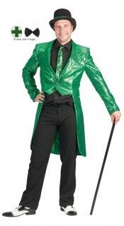 Frack Pailletten Herren Kostüm grün mit Fliege Herrenfrack Fasching Karneval KK