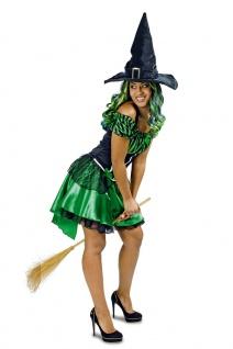Hexen-Kostüm Damen Sexy Hexe Wald-Märchen grün schwarz Halloweenkostüm KK