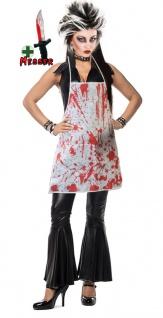 Zombie Horror Kostüm Damen blutige Schürze Halloween Messer mit Blut KK