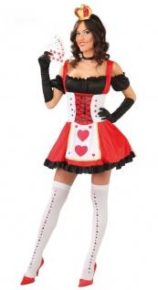 Herzkönigin Kostüm Damen sexy Herzdame Alice im Wunderland Spielkarte-n Karneval