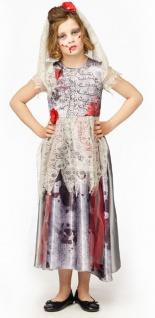 Horror Braut Kostüm Kinder Zombie blut-iges Mädchenkostüm Halloween KK