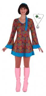 Hippie-Kleid Hippie Kostüm Flower Power 60er 70er Jahre Damen mit Peace Kette KK