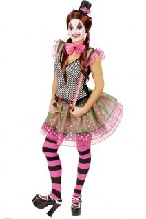 Clown Kostüm Damen Harlekin Pierrot Kleid Narren bunt Hut Fliege Fasching KK