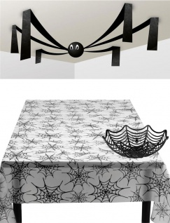 Halloween Party Deko Spinnen-Netz Tisch-Dekoration KK