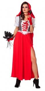 Rotkäppchen Kostüm Damen langes Kleid Umhang Kapuze Märchen Fasching Karneval KK