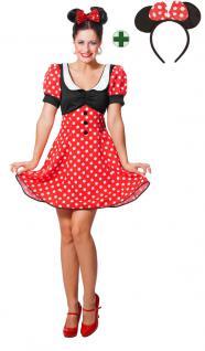 Minnie Mouse Kostüm Damen Minnie Maus-Kostüm Karneval Damen-Kostüm mit Ohren KK