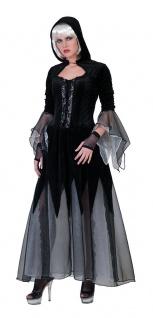 Hexenkostüm Damen Halloween Gothic Zombie Hexe mit Kapuze schwarz Horror KK