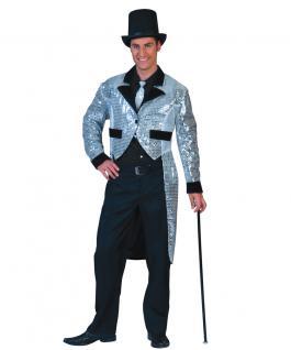 Herrenfrack silber Frack Pailletten Paillettenfrack Herren Karneval Kostüm