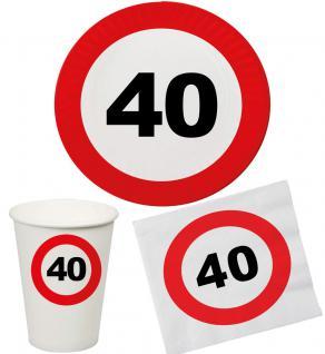Party Set 32 Teile Geburtstag 40 Jahre Verkehrsschild