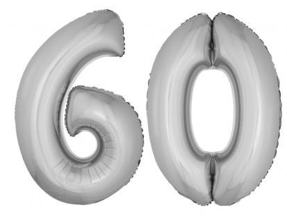 Folienballons Luftballon-SetXXL Zahl Geburtstag 60 Jahre silber Party Dekoration