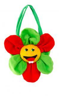 Hippie Tasche Flower Power Handtasche Blume rot gelb grün 70er Jahre Tasche KK