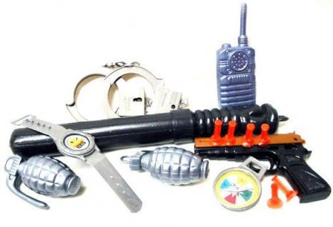 Polizei Set Kinder Ausstattung Ausrüstung aus Plastik Spielzeug