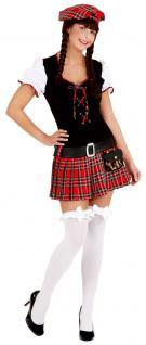 Schotten-Kostüm Damen Kostüm Schottin Schotten-Kleid sexy rot Schottenmütze KK