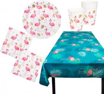 Flamingo Party Set Geburtstag Geschirr 25 Tl Teller Becher Servietten Tischdecke