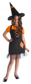 Kostüm Hexe Kinder orange schwarz mit Hexenhut Halloween Hexe KK