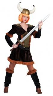 Wikinger-Kostüm Damen Barbarin mit Beinstulpen Damen-Kostüm Vikings KK