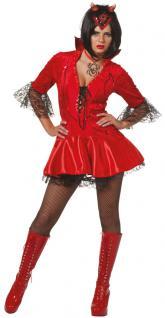 Teufel Kostüm Damen Teufelin Kleid Halloween Luxus Teufelskostüm Damenkostüm KK