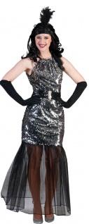 20er Jahre Kostüm Charleston Damen Pailletten silber lang KK
