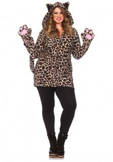Leoparden Kostüm Damen Hochwertig Ohren Schwanz Pfoten Raub-Katze Kleid Karneval