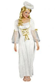 Kostüm Engel Damen Kleid weiß-gold Engelskostüm Weihnachtskostüm Damenkostüm KK
