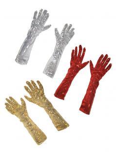 Handschuh-e Pailletten silber 45 cm Pailletten-Handschuh-e Charleston Karneval K
