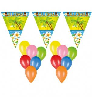 Deko Set Wimpelketten, Luftballons Hawaii Sommer Aloha 22 tlg. Wimpel/Girlande
