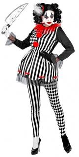 Horror Clown Kostüm Damen schwarz weiß rot Narr Clown Hut KK