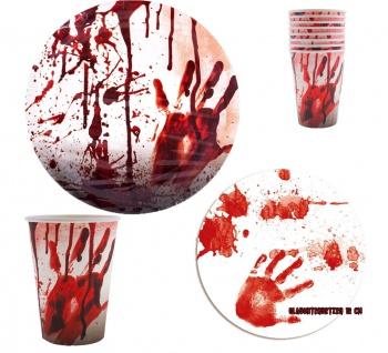Halloween Deko Party Tischdeko blutiges Dekoration Set Blut Zombie KK