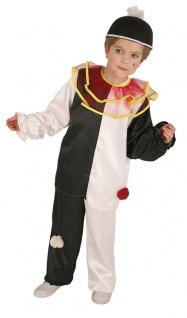 Clown Pierrot Kostüm Kinder Harlekin Narren schwarz weiß Kinderkostüm Fasching K