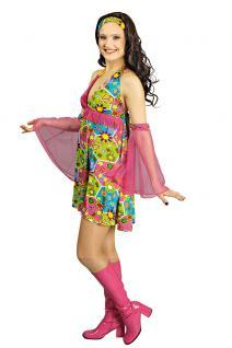 Hippie-Kleid Hippie-kostüm Flower Power 60er 70er Jahre Peace Damen-Kostüm KK
