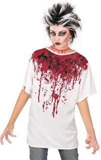 Horror Kostüm Frau Damen blutiges T-Shirt Blut Zombie KK