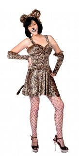 Leopard Kostüm Katze Kleid sexy Wildkatze Damen Karneval Fasching KK
