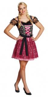 Dirndl Kostüm Damen Faschingskostüm Dirndl pink schwarz für Damen KK