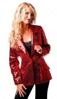 Pailletten-Jacke Disco-Jacke 70er 80er Jahre Weste rot Karneval Damen-Kostüm