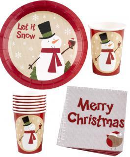 Party Set Weihnachtsservietten, Becher, Teller Luxus Schneemann 32 Teile KK