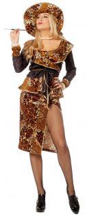 sexy Leoparden-Kostüm Damen Gangsterbraut Rock Jacke Hut Karneval Fasching KK