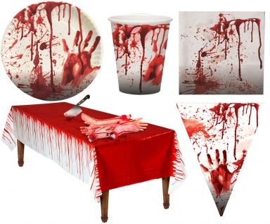 Halloween Tischdeko Blut Party Set Teller Becher Servietten Tischdecke Girlande