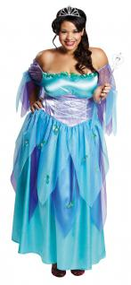 Fee-n-Kostüm Damen blau Cinderella Kostüm lang Märchen Karneval Damen-Kostüm KK