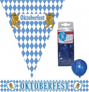 Oktoberfest Raumdeko Deko Party Set Bavaria 14 Teile blau-weiß Wimpel/Girlande