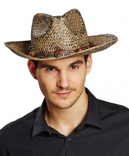 Cowboyhut Stroh Herren Strohhut mit Hutband für Western-Party Karneval Fasching